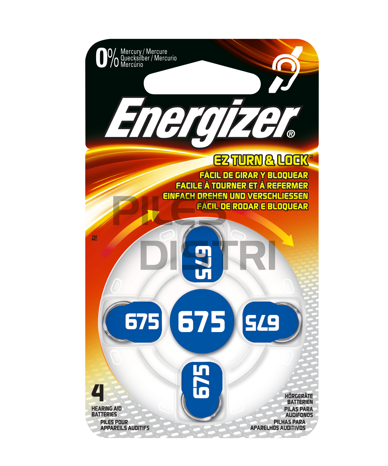 Pile auditive 675 - PR44 - 1.4v Energizer - 0% mercure - par 4