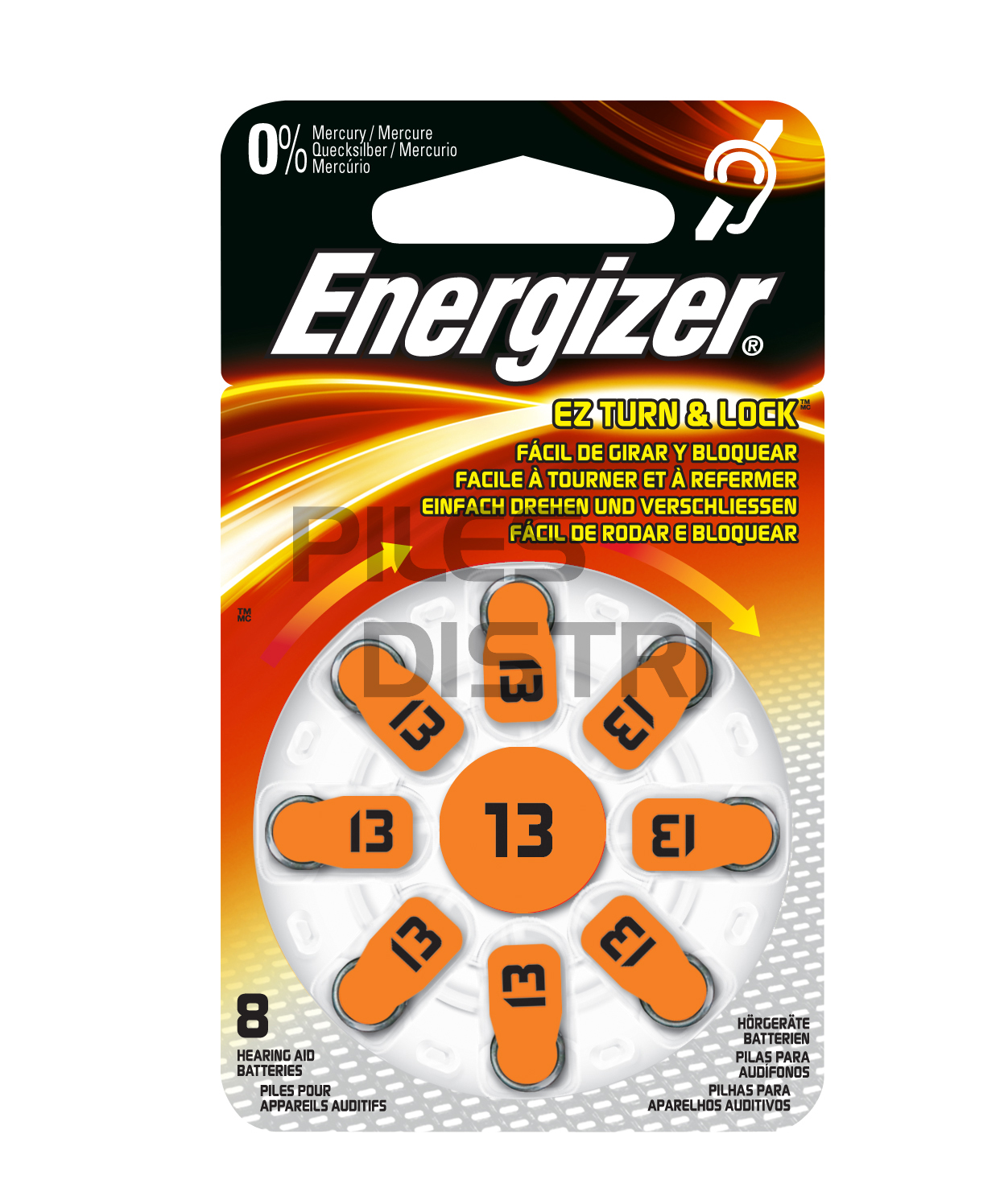 Pile auditive 13 - PR48 - 1.4v Energizer - 0% mercure - par 8