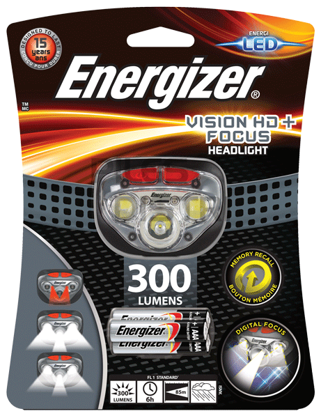 Lampe frontale 5 LED vision HD focus - 300Lumens + 3 piles AAA Energizer