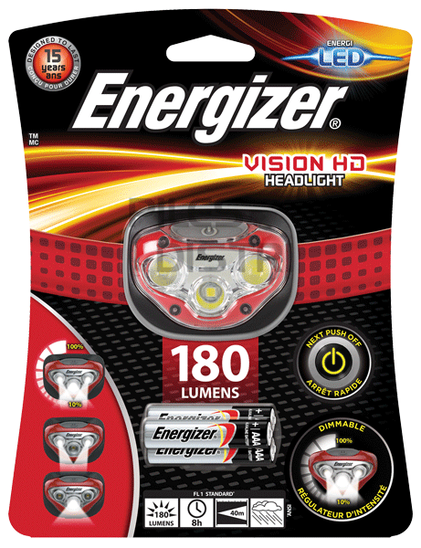 Lampe frontale 3 LED vision HD - 180Lumens + 3 piles AAA Energizer