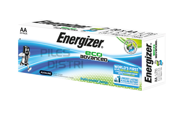 Pile AAA - LR03 - alcaline  1.5V - Energizer Eco Advanced -pack de 20 piles