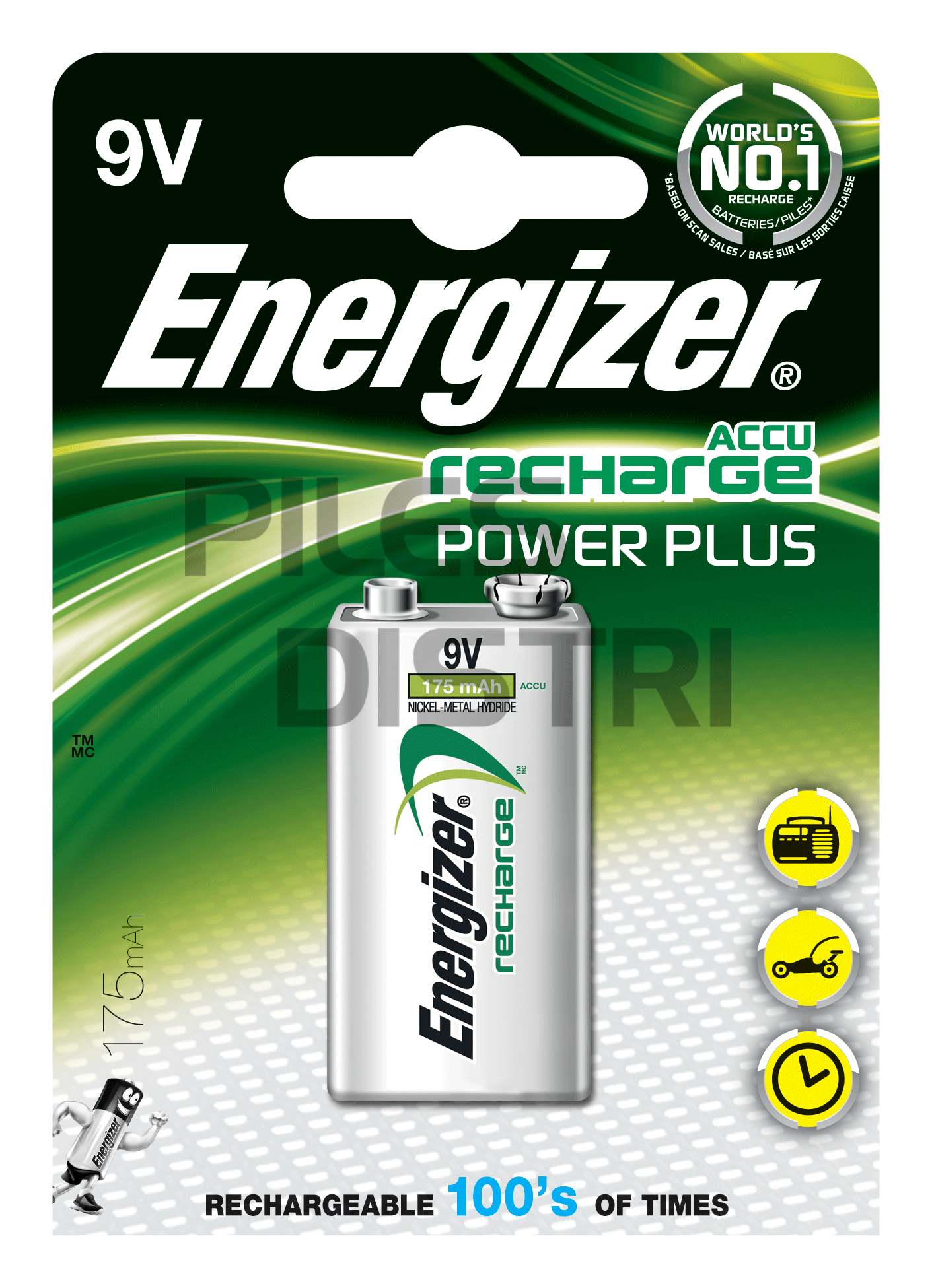 Pile rechargeable 9V 175mAh NiMH Energizer